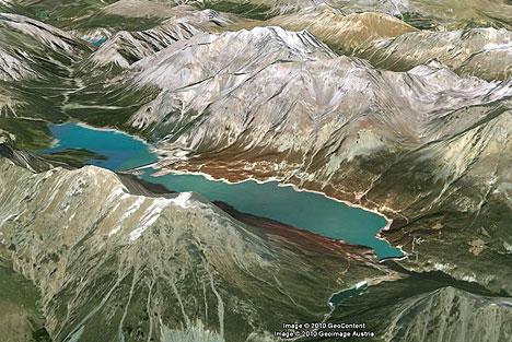 Dighe o laghi di Cancano dal satellite