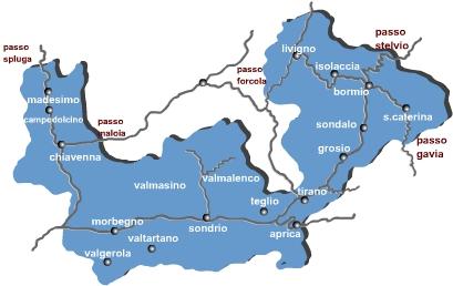 Cartina Lombardia Sondrio.Valtellina